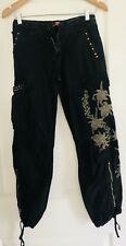 RARE WOMENS PANTS COTTON BLACK POCKETS STUDS FORAL ZIPS MADE IN ITALY SZ 12