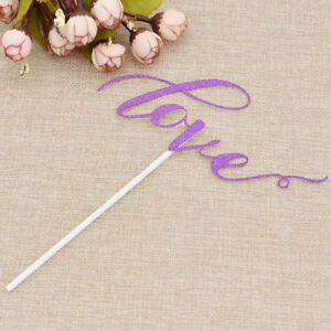 10 Pcs Cute Love Wedding Cake Topper Wedding Decoration Paper Glitter Supplies