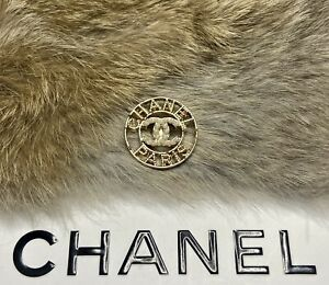 CHANEL Paris CC Pearl Gold button STAMPED Round metal buttons 24mm