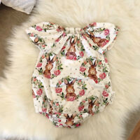 Newborn Baby Girls Bunny Floral Romper Jumpsuit Bodysuit Outfits Clothes Summer