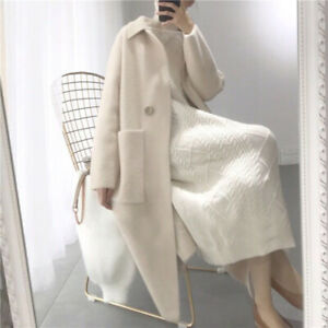 Womens Cashmere Outwear Jacket  Mink Fur Loose Long Cardigan Coat Trench