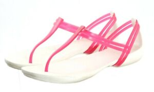 Crocs Women's Thong Sandals Size 9 Rubber White Hot Pink