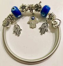 Mix Diamond RhineStone Hamsa Hand Evil Eye Charm Bracelet Bangle
