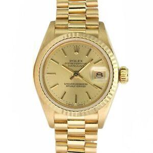 Rolex Watch Lady Sapphire Datejust 69178 18k Yellow Gold President Champagne