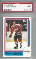 1986 Topps hockey card #107 Alan Haworth Washington Capitals graded PSA 9