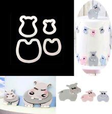 4 un. Ducha Sugarpaste Hipopótamo Cortador Pastel Cupcake Horma Topper Reino Unido Mamá Bebé