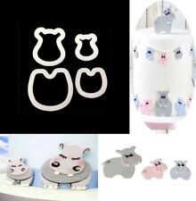 4pcs Hippo Cutter sugarpaste Shower Cake Cupcake Gumpaste Topper UK mommy baby