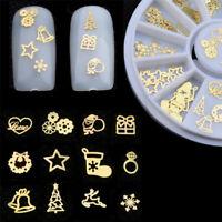 120Pcs/Box Metal Hollowed-out Rivets Xmas Snowflake 3D Nail Art Sticker Tools HJ