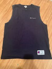 Vtg 90's Men's Champion Size L Navy Spell Out Tank Top Sleeveless Vintage Cotton