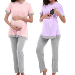 Women Maternity Nursing Pajama Set Sleepwear for Breastfeeding Pregnancy xa