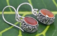 Handmade Sterling Silver .925 Bali Oval Dangle Earring w Faceted Carnelian Gem.