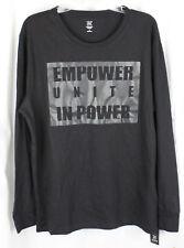 INC International Concepts Shirt Long Sleeve Tee Empower Unite In Power Black L