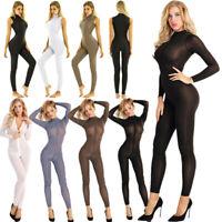 Women Full Body High Neck Sleeveless Leotard Yoga Jumpsuit Dance Romper Costume
