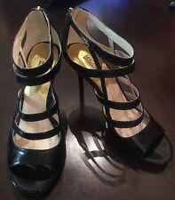 MICHAEL Michael Kors Black Patent Open Toe Sandals Strappy Heels Women's Size 8