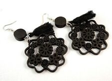 Black Lightweight Laser Cut Wood Dangle Earrings with Black Tassels #872