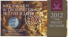 5x Österreich 5 Euro 2012 Silber 200 Jahre Musikfreunde hgh im Blister