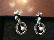 Micheal Dawkins Sterling Silver SnakeSkin Series Pearl Drop Earrings