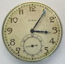 Antique 1932 Elgin Pocket Watch Movement & Light Gold Tone Dial 7j 12s *