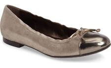 NIB AGL Cap Toe Bow Leather Ballet Flat 40.5/10.5 Ginger Shimmer/Pewter ATTILIO