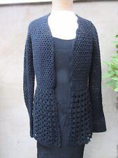 Quality black crochet edge to edge cardigan