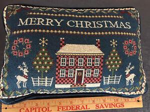 Vintage Merry Christmas Throw Pillow colonial blue salt box reindeer 12 x 8