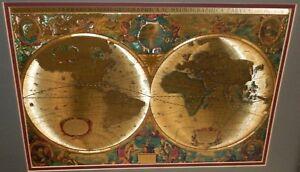 HENR HONDIO NOVA TOTIVS TERRARVM ORBIS GEOGRAPHICA GOLD FOIL MAP OF THE WORLD