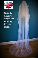 Drop Veil *Floor/Chapel /Cathedral Length*Off White/Ivory*Cut Edge*