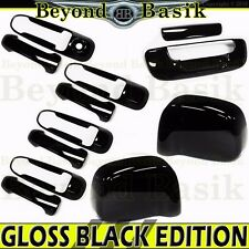 2002-2008 DODGE RAM 1500 GLOSS BLACK Door Handle COVERS W/1 KH+Mirror+Tailgate