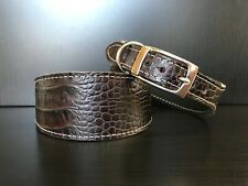 S/M Leather Dog Collar LINED Greyhound Whippet MAHOGANY MATTE REPTILE PATTERN