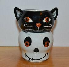 HALLOWEEN SKELETON BLACK CAT CERAMIC CANDLE HOLDERS HALLMARK TEA LIGHT