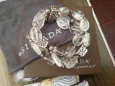 SILPADA CRYSTAL QUARTZ & OXIDIZED STERLING SILVER STRETCH BRACELET B1600 RETIRE