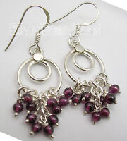 925 Solid Silver Lovely Earrings GARNET, MOONSTONE, PERIDOT Gems Beads Variation