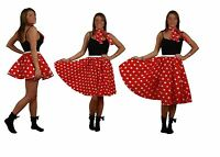 Red with White Polka Dot Spotty Rock N Roll Skirt & Scarf Set
