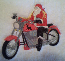 SANTA MOTORCYCLE STYLE  SET OF 2 BATH HAND TOWELS EMBROIDERED