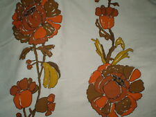 Vintage Retro LARGE BROWN & ORANGE FLORAL Fabric (60cm x 150cm)