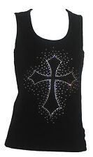 Black Tank Top Rhinestone Cross with Scatter Plus Size 1X 2X 3X 4X 5X Bling NEW