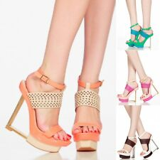 Colorful Cut Out Open Toe Platform Wedge High Sexy L Shape Heel Sandal Size W35