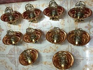 Nautical Ship Marine Passageway Bulkhead Ceiling Light With Copper Shade 10 Pcs
