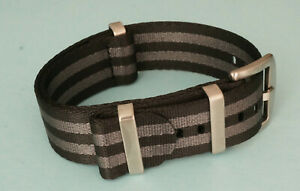 NATO Strap James Bond Armband 22 mm schwarz grau black grey seat belt 007 # 8095