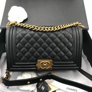 Medium Black Caviar Le Boy Flap Bag with GOLD Chain