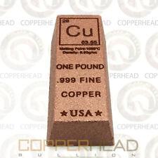 1 Pound lb (16 oz) Trapezoid Style Element Copper Bullion Bar .999 Fine Ingot