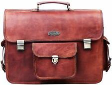 Vintage Messenger Laptop Briefcase Brown Leather Bag Attaché 13x18 Inch