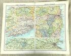 Antique Map of Ireland Eire County Cork Killarney Dublin Wicklow Dublin Old 1893