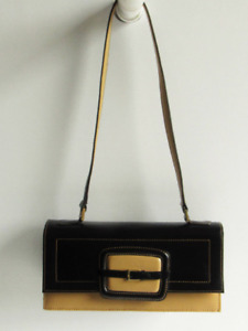 LEDERER DE PARIS Gorgeous Tan & Black Leather Vintage Baguette Shoulder Bag-EUC