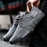 Men's Black Retro Casual Denim Canvas Shoes Outdoor Loafers Breathable Sneakers#