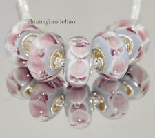 5pcs MURANO Lampwork charm Beads fit 925 silver European Bracelet Chain a92