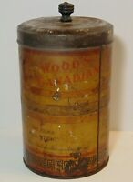 Old Vintage 1920s WOOD WOOD'S COFFEE TIN TORONTO UNIVERSITY GRAPHIC 1 POUND CAN