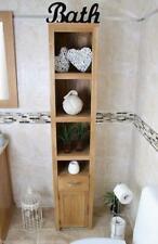 180cm Oak Bathroom Storage Unit & Tall Cabinet Cupboard with Shelving No Veneers