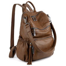 UTO Women Backpack Purse PU Washed Leather Convertible Ladies Rucksack