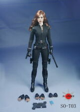 SO-Toys 1/6 Figure Clothing Scarlett Johansson Black Widow Costume Suits W/Head